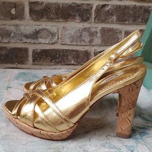 Schutz Gold Cork Slingback Strappy Heels